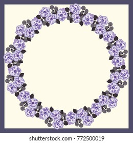 Floral round frame from cute flowers. Greeting card template. Design artwork for the poster, tee shirt, pillow, home decor. Summer flowers with green leaves.