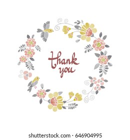 Floral round frame isolated on white vector illustration. Embroidery wreath template for greeting or invitation cards. Thank you card, Mother's day, Birthday, Valentine's day, wedding card.