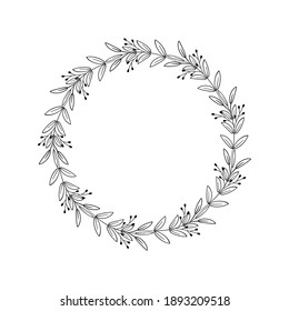 Floral round frame with leaves, branches, berries. Hand drawn vector wreath. Beautiful border for logo, invitation, wedding, tag, monogram. Black linear drawing on white background. Circle plant