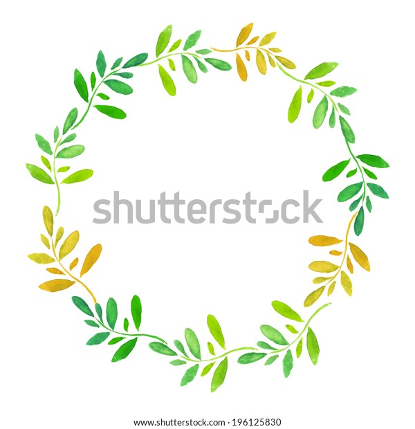 floral round frame with leaves  - vector in watercolor style