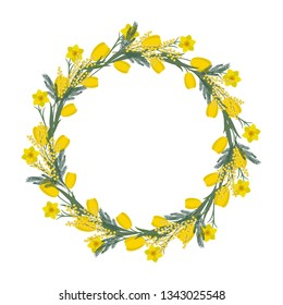 Floral round frame from spring flowers. Yellow flowers of tulips, daffodils and mimosa on a white background. Greeting card template. It can be used as an design element in projects. Vector