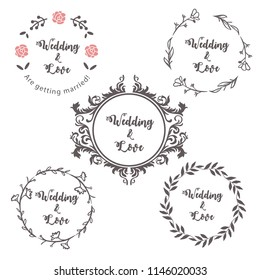 Floral Round Frame for Wedding Invitation Card Collection