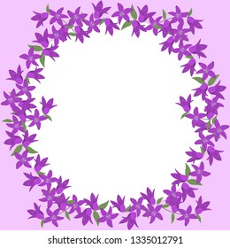 Floral round frame for your photo. Flowers bells. Vector image