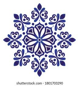 floral round pattern, Circular decorative ceramic ornament, blue and white Mandala, porcelain tamplate design kaleidoscope, yoga, India, Arabic, indigo background, pottery flower, vector illustration