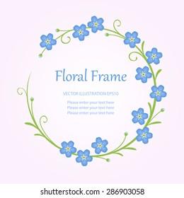 Floral round vintage frame with forget-me-not flowers. Vector illustration