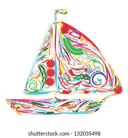 Floral sailing boat which can be used as icon or emblem