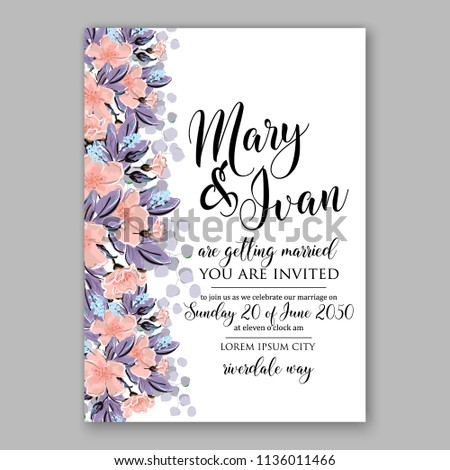 Floral Sakura Cherry Blossom Wedding Invitation Stock Vector