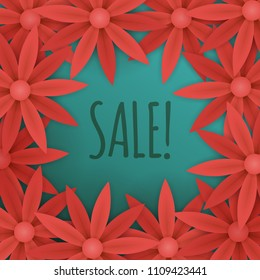 floral sale banner template. red paper flowers on blue background. flyer for your advertisements.