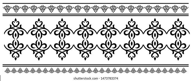 Floral Saree border design concept - Indian Traditional and Cultural Rangoli, Alpona, Kolam or Paisley vector line art