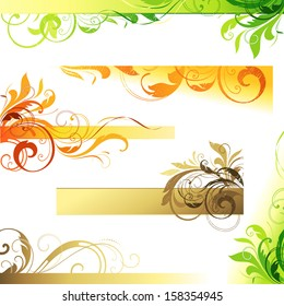 Floral scroll set for backgrounds and others design. Elements can be ungrouped for easy editing.