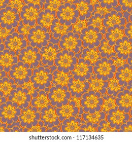Floral seamless abstract hand-drawn pattern / background. Seamless pattern can be used for textiles, wrapping paper, wallpaper, pattern fills, web page background, surface textures.