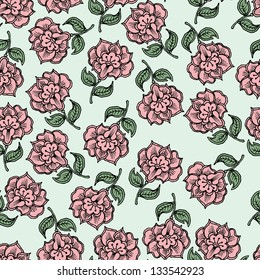 Floral seamless abstract hand-drawn pattern / background.