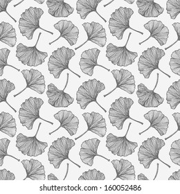 Floral seamless background with ginkgo leaves.This endless background can be used for wallpaper, pattern fills, textile, web page background, surface textures. Vector illustration.