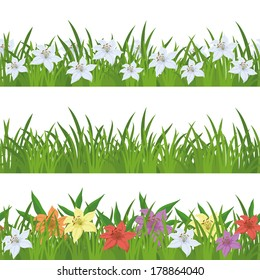Floral seamless background with green grass and lily flowers of various colors, isolated on white. Vector