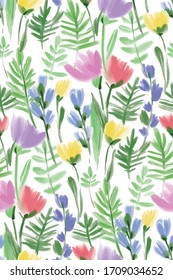 Floral seamless background pattern. Colorful spring flowers hand drawn, vector. Spring summer.