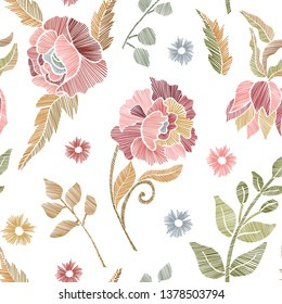 Floral seamless background pattern with mix wild flowers and leaves Line art. Embroidery flowers. Vector illustration. Textile design, wallpaper, card design.