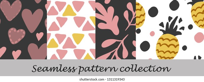 Floral seamless background set