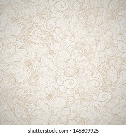 Floral seamless beige abstract hand-drawn card. Vector eps10 background.