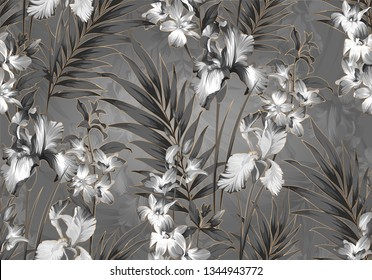 floral seamless black and white pattern. patern with orhids and iris flowers.