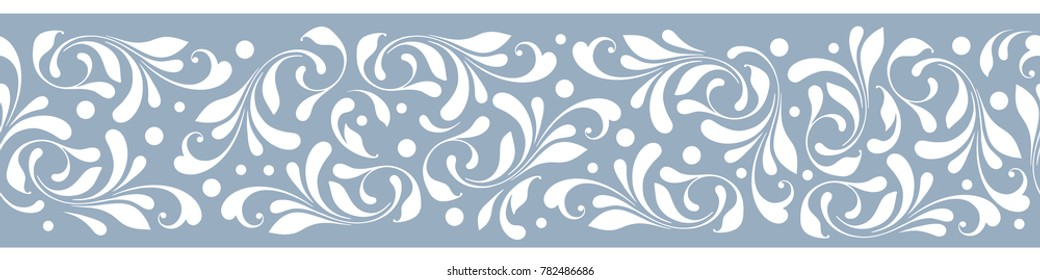 Floral seamless border. Decorative swirls and flowers pattern. Lacy design for frame, tape, ribbon.