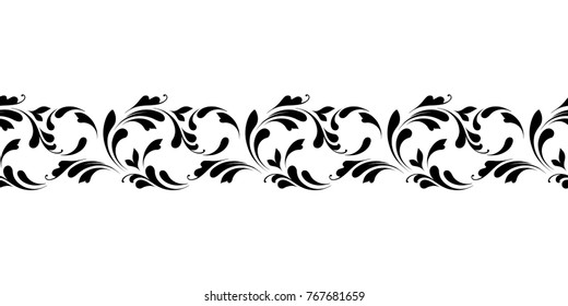 Floral seamless border. Endless flowery pattern for ribbons, fabric, wrapping, wallpaper, tape. Decorative design element for background and cover.