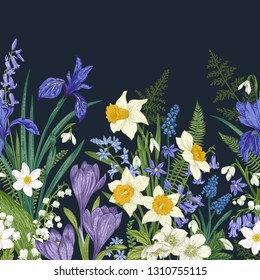 Floral seamless border. Meadow and garden flowers on a dark background. Vectrical illustration. Colorful.