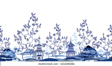 Floral seamless border on blue background. Vintage ink chinese pagodas, mountains, trees in chinoiserie style for fabric, interior design. Hand drawn landscape vector seamless pattern.