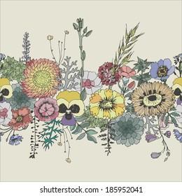 Floral seamless border. Vector hand drawn illustration.
