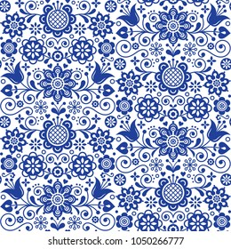Floral seamless folk art vector pattern, Scandinavian navy blue repetitive design, Nordic ornament with flowers.  Floral seamless folk art vector pattern, Scandinavian navy blue repetitive design, Nor