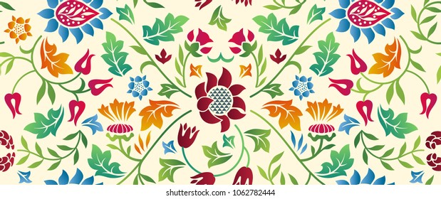 Floral seamless horizontal pattern on light background. Vector illustration.