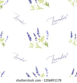 Floral seamless with lavender greenery and hand lettering. Vector watercolor vintage sketch. Botanical colorful illustration on white background. Pattern or card design.