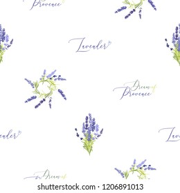 Floral seamless with lavender wreath, bouquet and dream of Provence lettering. Pattern or card design. Vector watercolor vintage sketch. Botanical colorful illustration on white background.
