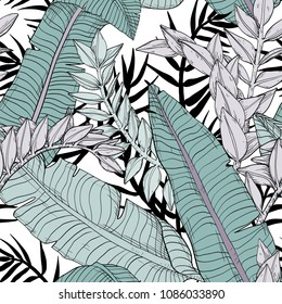 Floral seamless leaves pattern with tropical plants