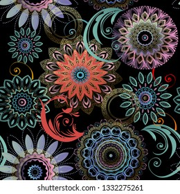 Floral seamless mandalas pattern. Elegance colorful patterned background. Ethnic style lacy flowers, leaves. Round flourish mandala ornament. Repeat ornate backdrop. Ornamental beautiful vector design