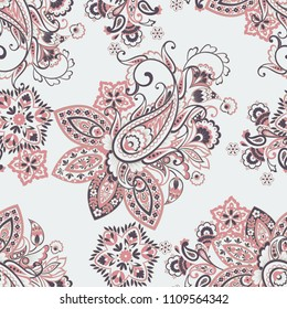 Floral seamless paisley vector pattern