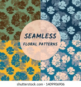 Floral seamless pattern in 4 colorways. Botanical pattern design of wild carnations. Great for modern fabric, wallpaper, backgrounds, invitations, packaging design projects.