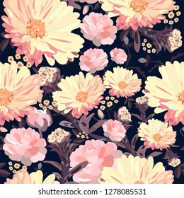 Floral seamless pattern. Abstract template with different kinds of pink flowers on dark background. Vector hand-drawn illustration.