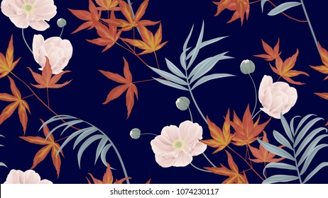 Floral seamless pattern, anemone flowers, red Japanese maple leaves, palm leaves on dark blue background