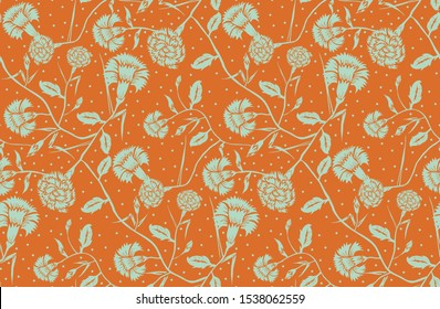 Floral seamless pattern in art nouveau style. Flower carnation background in orange and mint green. Floral seamless texture with flowers - Vector