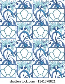 Floral seamless pattern, background  In art nouveau style, vintage, old, retro style in blur colors. Vector illustration. Isolated on white background.