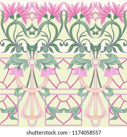 Floral seamless pattern, background  In art nouveau style, vintage, old, retro style in pink and yellow colors. Vector illustration.