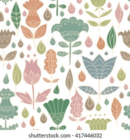 Floral seamless pattern background with birds. Background for coloring book. Floral, retro, doodle, vector design element. Vector illustration.