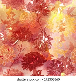 Floral seamless pattern. Background with chrysanthemum. Vector illustration