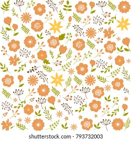 Floral seamless pattern background. Spring design decorative texture. wallpaper. Cute flowers, leafs stylilezd in folk ethnic artwork