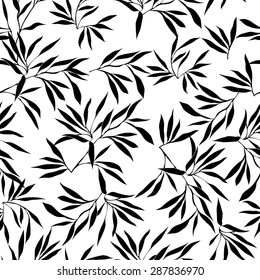 Floral seamless pattern. Bamboo leaf background. Floral seamless texture with leaves. Vector illustration