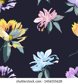 Floral seamless pattern with beautiful flower with dark background.