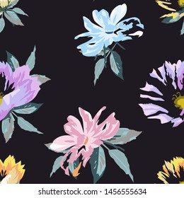 Floral seamless pattern with beautiful flower with dark background. Vector background.