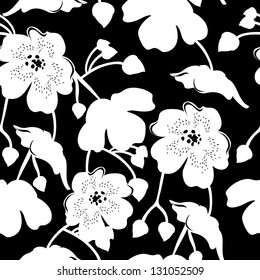 Floral seamless pattern with beautiful flowers, hand-drawing. Vector illustration.