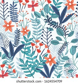 Floral Seamless Pattern with Beautiful Flowers for wrapping paper and summer fashion prints. Vector illustration support CMYK.