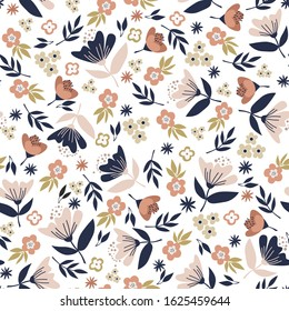 Floral seamless pattern with beautiful Flowers for wrapping paper. Vector illustration support with CMYK color.